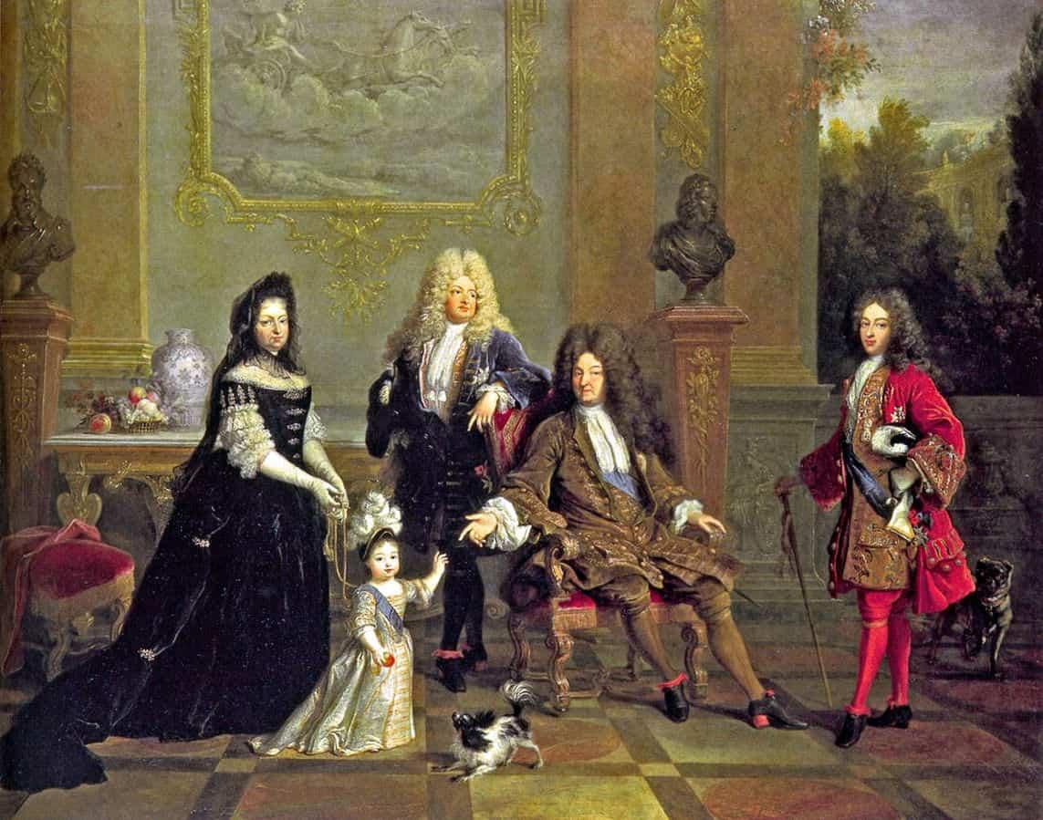 Papillon in a family portrait of Louis XIV